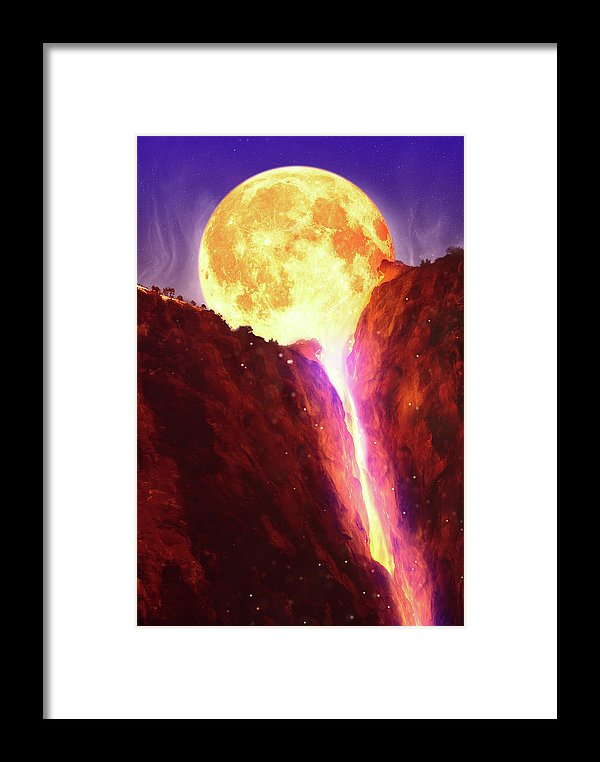 Lava Moon Melting Into Waterfall - Framed Print from Wallasso - The Wall Art Superstore