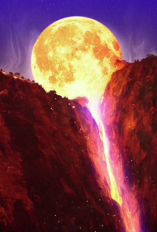Lava Moon Melting Into Waterfall - Art Print from Wallasso - The Wall Art Superstore