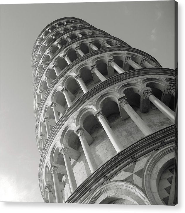 Leaning Tower of Pisa, Black and White - Acrylic Print from Wallasso - The Wall Art Superstore