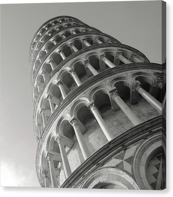 Leaning Tower of Pisa, Black and White - Canvas Print from Wallasso - The Wall Art Superstore
