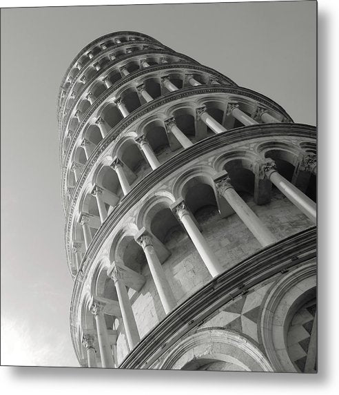Leaning Tower of Pisa, Black and White - Metal Print from Wallasso - The Wall Art Superstore