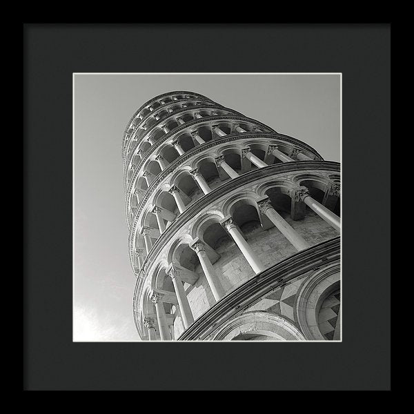 Leaning Tower of Pisa, Black and White - Framed Print from Wallasso - The Wall Art Superstore