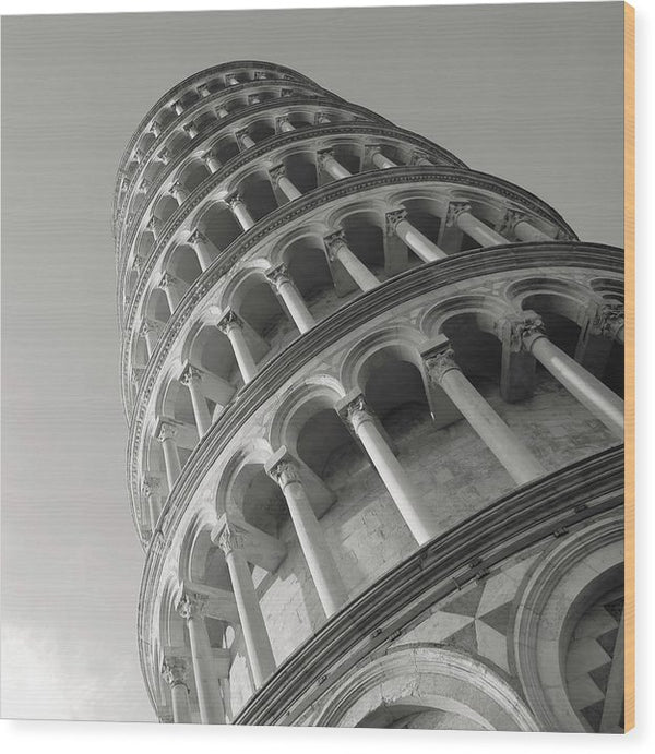 Leaning Tower Of Pisa, Black And White - Wood Print from Wallasso - The Wall Art Superstore
