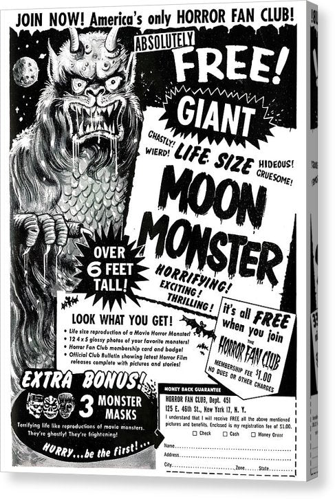 Life Size Moon Monster Advertisement, Vintage Comic Book - Canvas Print from Wallasso - The Wall Art Superstore