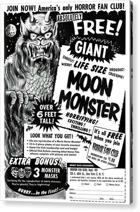 Life Size Moon Monster Advertisement, Vintage Comic Book - Acrylic Print from Wallasso - The Wall Art Superstore
