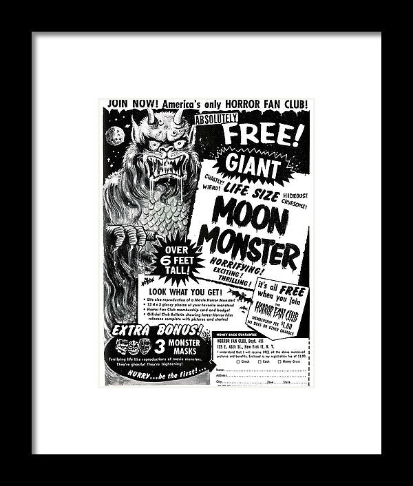 Life Size Moon Monster Advertisement, Vintage Comic Book - Framed Print from Wallasso - The Wall Art Superstore