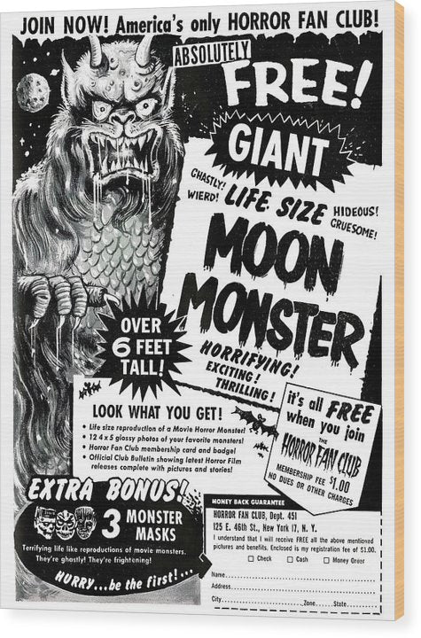 Life Size Moon Monster Advertisement, Vintage Comic Book - Wood Print from Wallasso - The Wall Art Superstore