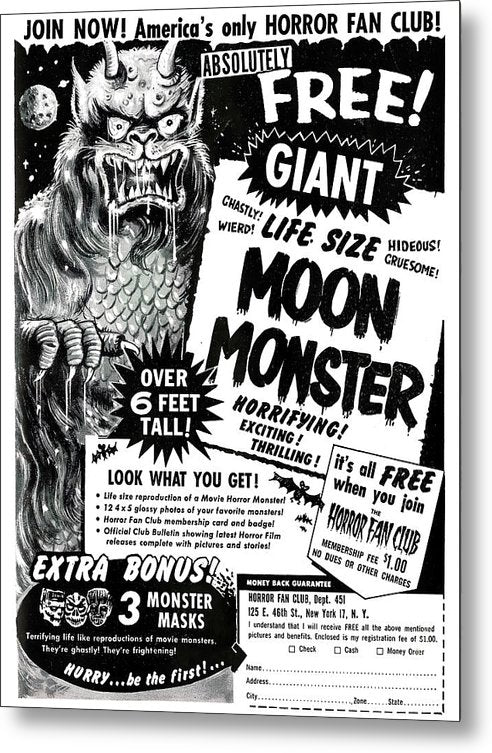 Life Size Moon Monster Advertisement, Vintage Comic Book - Metal Print from Wallasso - The Wall Art Superstore