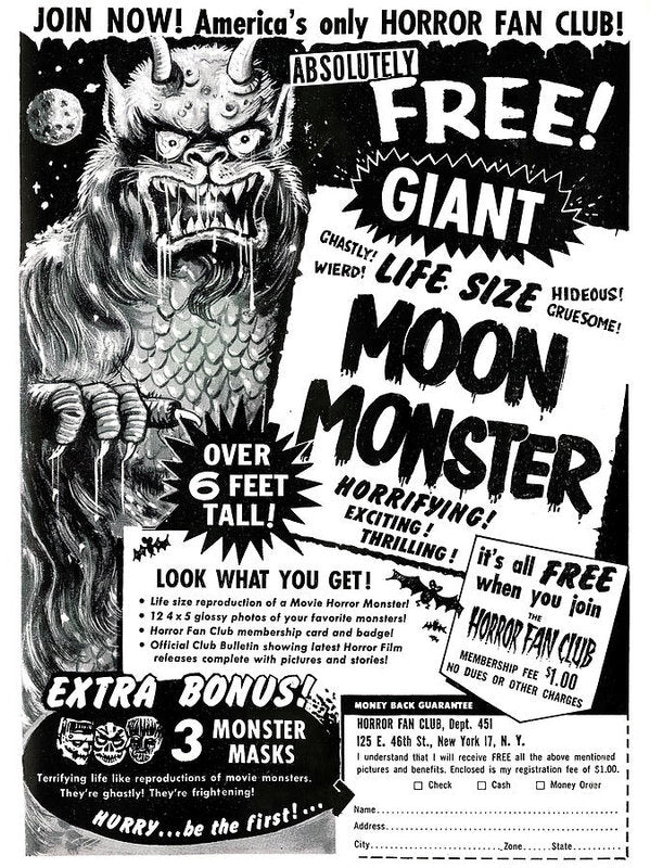 Life Size Moon Monster Advertisement, Vintage Comic Book - Art Print from Wallasso - The Wall Art Superstore
