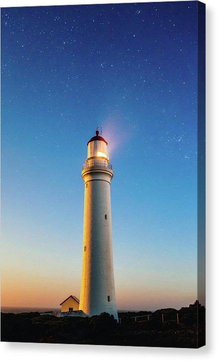 Lighthouse At Twilight With Stars - Canvas Print from Wallasso - The Wall Art Superstore