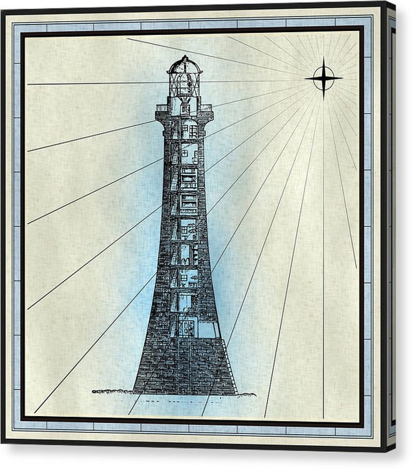 Lighthouse Illustration - Canvas Print from Wallasso - The Wall Art Superstore