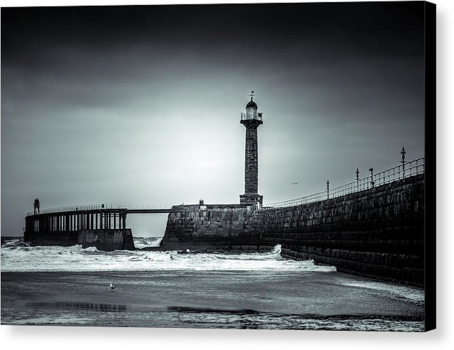 Lighthouse On Pier - Canvas Print from Wallasso - The Wall Art Superstore