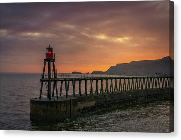 Lighthouse On Whitby Pier Jetty At Sunset - Canvas Print from Wallasso - The Wall Art Superstore