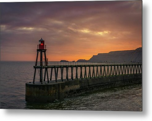 Lighthouse On Whitby Pier Jetty At Sunset - Metal Print from Wallasso - The Wall Art Superstore