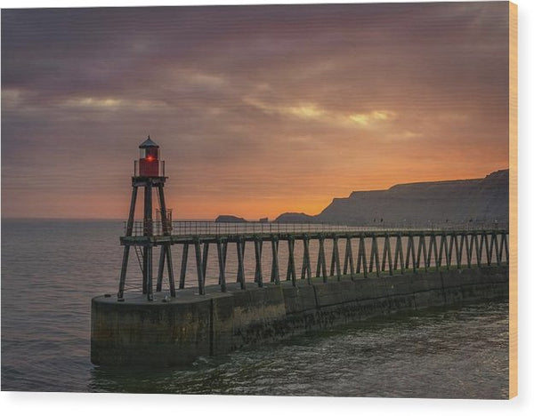 Lighthouse On Whitby Pier Jetty At Sunset - Wood Print from Wallasso - The Wall Art Superstore