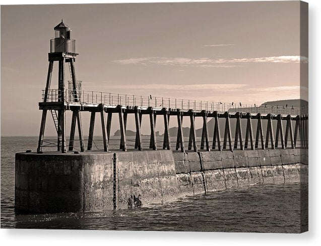 Sepia Lighthouse On Whitby Pier Jetty - Canvas Print from Wallasso - The Wall Art Superstore