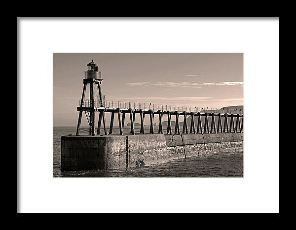 Sepia Lighthouse On Whitby Pier Jetty - Framed Print from Wallasso - The Wall Art Superstore