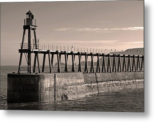 Sepia Lighthouse On Whitby Pier Jetty - Metal Print from Wallasso - The Wall Art Superstore