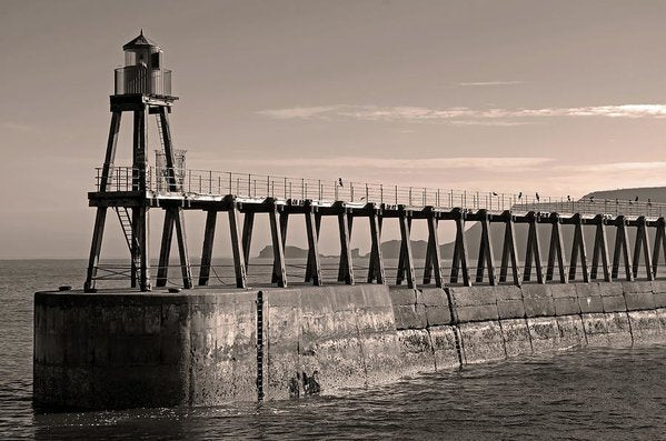 Sepia Lighthouse On Whitby Pier Jetty - Art Print from Wallasso - The Wall Art Superstore