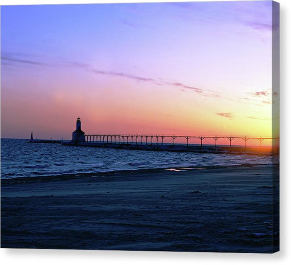 Lighthouse With Colorful Sky - Canvas Print from Wallasso - The Wall Art Superstore