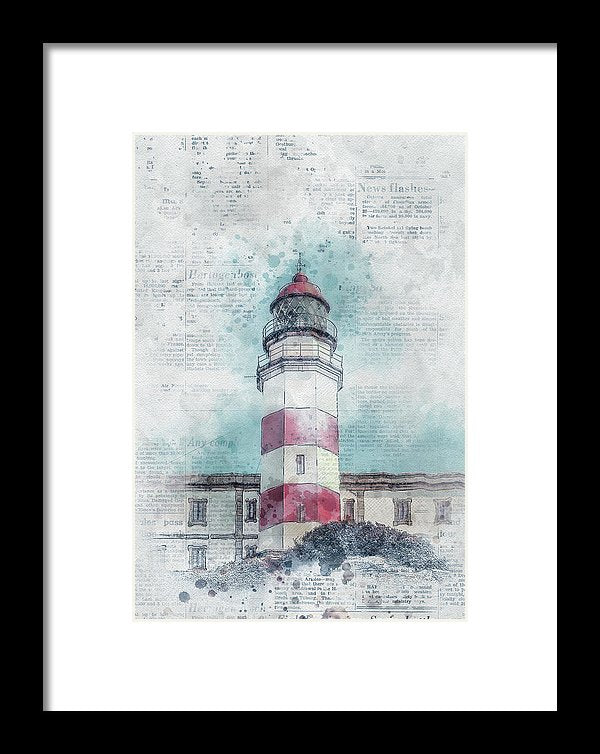 Lighthouse With Newspaper Print Illustration - Framed Print from Wallasso - The Wall Art Superstore