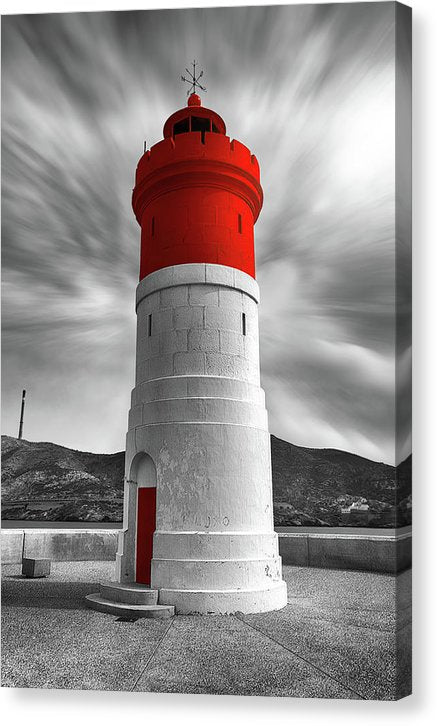 Lighthouse With Pop of Red Color - Canvas Print from Wallasso - The Wall Art Superstore