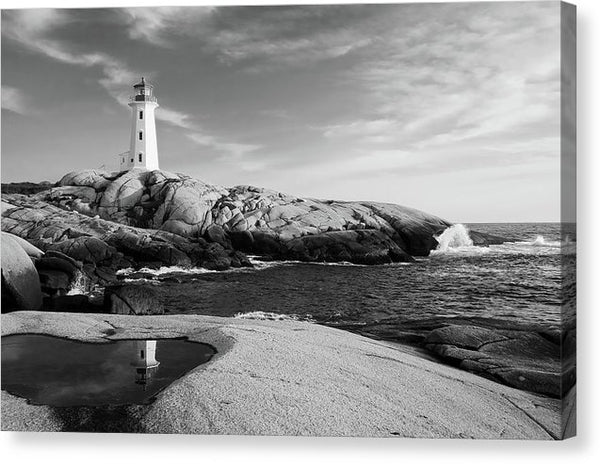 Lighthouse With Rocky Coastline - Canvas Print from Wallasso - The Wall Art Superstore