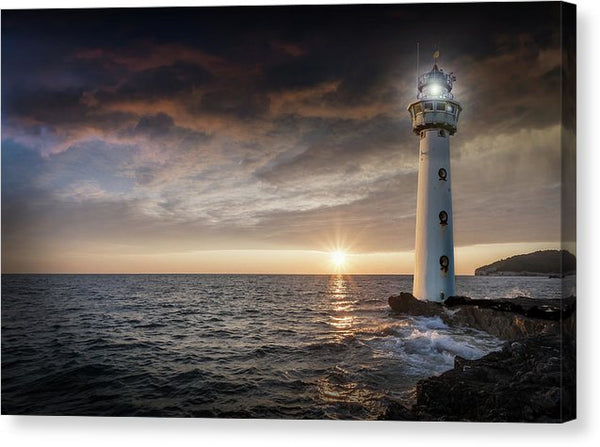 Lighthouse With Sun Cresting The Horizon - Canvas Print from Wallasso - The Wall Art Superstore