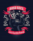 Live Fast Die Young Skeleton Motorcycle Sign - Art Print from Wallasso - The Wall Art Superstore