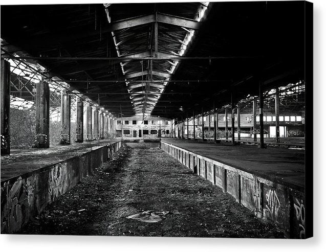 Loading Dock In Abandoned Warehouse - Canvas Print from Wallasso - The Wall Art Superstore