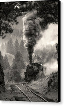 Locomotive Billowing Smoke Through Trees - Canvas Print from Wallasso - The Wall Art Superstore