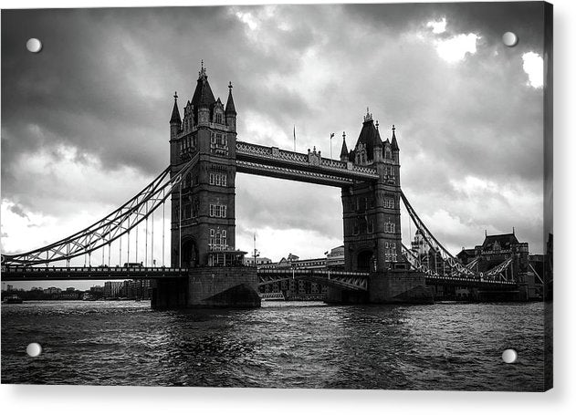 London's Tower Bridge, Black and White - Acrylic Print from Wallasso - The Wall Art Superstore