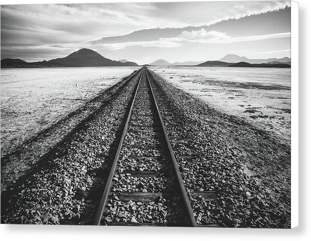 Lonely Railroad Tracks In Desert - Canvas Print from Wallasso - The Wall Art Superstore