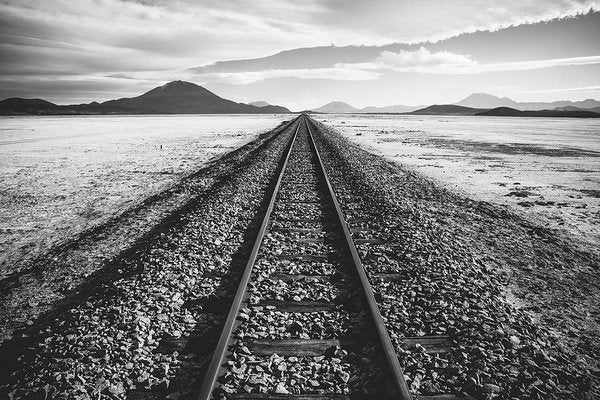 Lonely Railroad Tracks In Desert - Art Print from Wallasso - The Wall Art Superstore