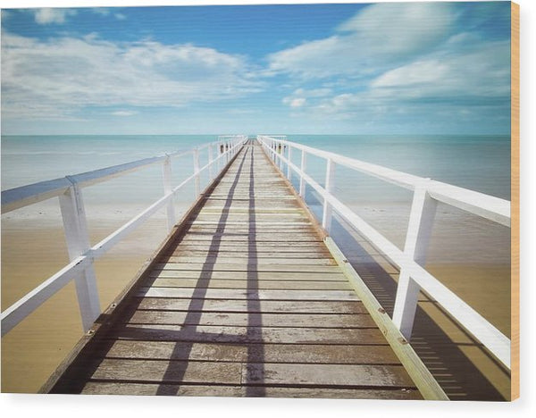Long Boardwalk With White Railing - Wood Print from Wallasso - The Wall Art Superstore