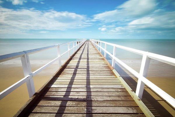 Long Boardwalk With White Railing - Art Print from Wallasso - The Wall Art Superstore