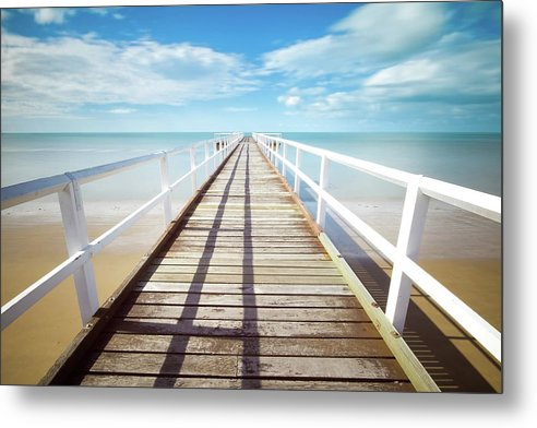Long Boardwalk With White Railing - Metal Print from Wallasso - The Wall Art Superstore