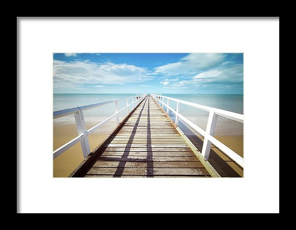 Long Boardwalk With White Railing - Framed Print from Wallasso - The Wall Art Superstore