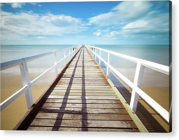 Long Boardwalk With White Railing - Acrylic Print from Wallasso - The Wall Art Superstore