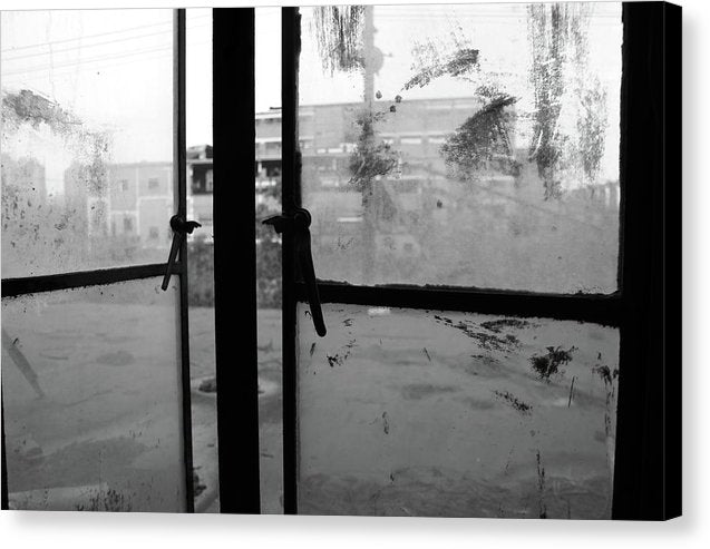Looking Out Windows of Abandoned Factory - Canvas Print from Wallasso - The Wall Art Superstore