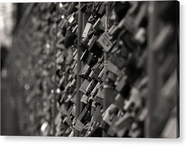 Love Locks On Fence - Acrylic Print from Wallasso - The Wall Art Superstore