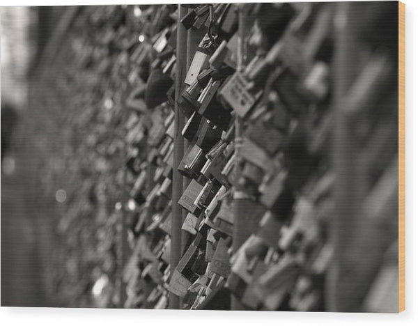 Love Locks On Fence - Wood Print from Wallasso - The Wall Art Superstore