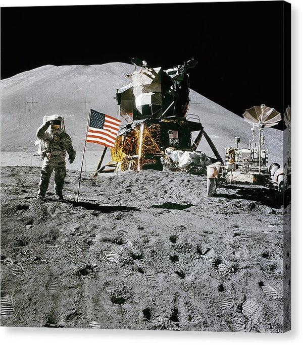 Lunar Landing Astronaut Saluting American Flag - Canvas Print from Wallasso - The Wall Art Superstore