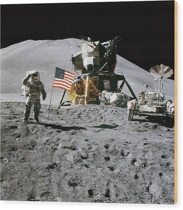 Lunar Landing Astronaut Saluting American Flag - Wood Print from Wallasso - The Wall Art Superstore