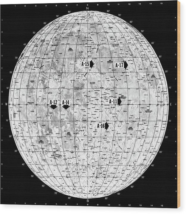 Lunar Map - Wood Print from Wallasso - The Wall Art Superstore