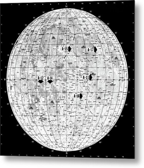 Lunar Map - Metal Print from Wallasso - The Wall Art Superstore