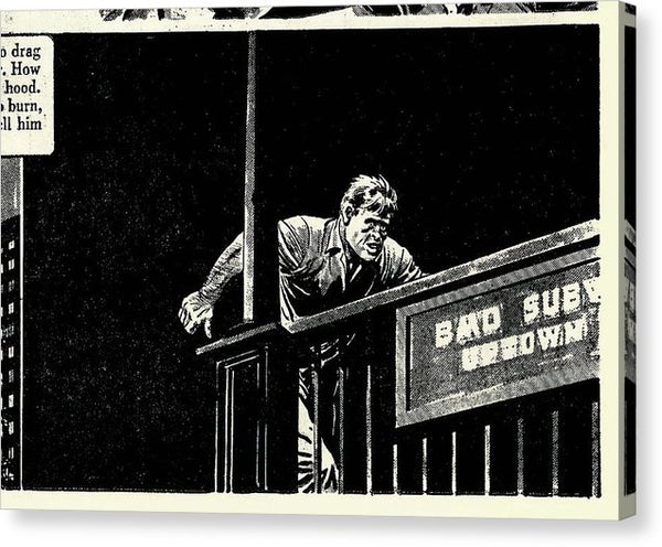 Man Running Into Subway, Vintage Comic Book - Canvas Print from Wallasso - The Wall Art Superstore