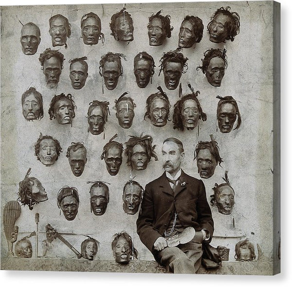 Man With Collection of Vintage Severed Heads, 1894 - Canvas Print from Wallasso - The Wall Art Superstore