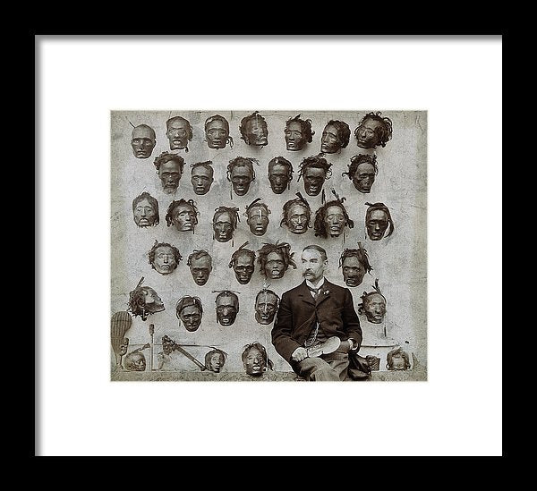 Man With Collection of Vintage Severed Heads, 1894 - Framed Print from Wallasso - The Wall Art Superstore