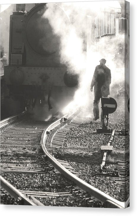 Man With Steam Locomotive - Canvas Print from Wallasso - The Wall Art Superstore